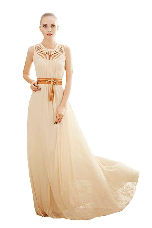 CA Fashion Women's Sleeveless Full Length Formal Evening ...