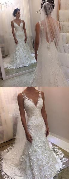 Ivory Lace Sheath Sleeveless Backless Charming Wedding Dresses, AB1502
