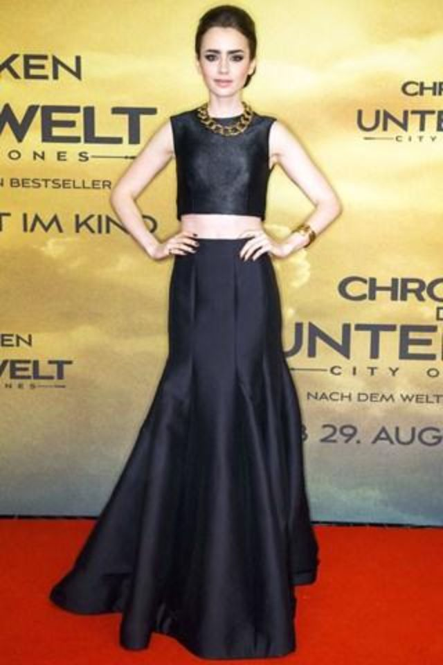 7d304124cdbf98 Lily Collins Halston Heritage, black leather two piece maxi skirt & crop top