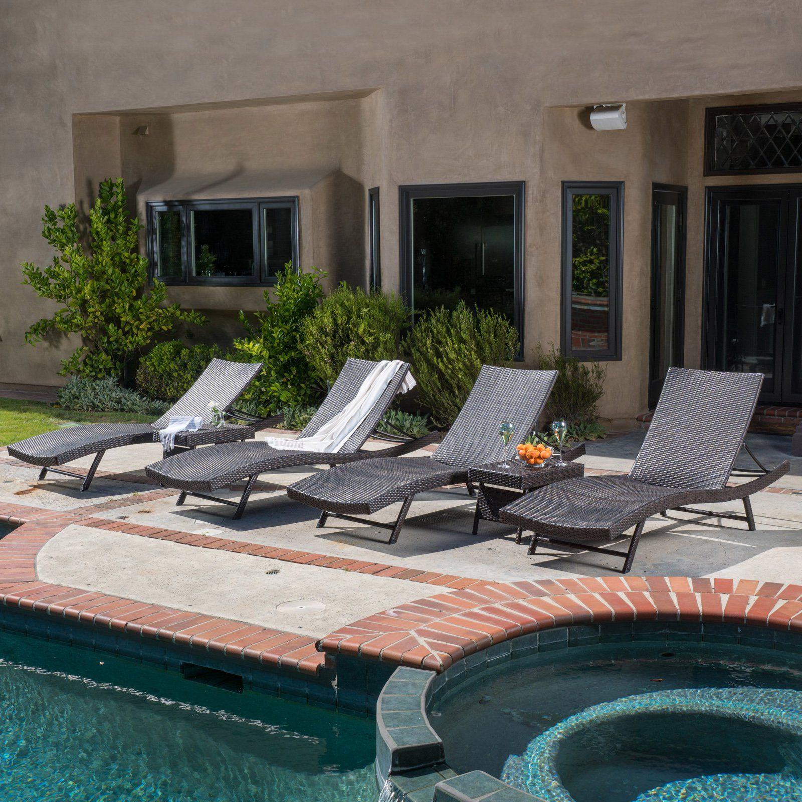 Outdoor Best Selling Home Decor Kauai Wicker 6 Piece Chaise