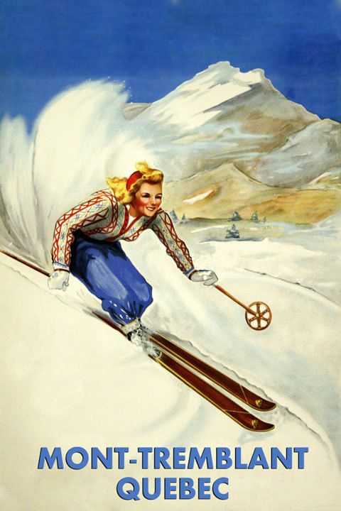 POSTER WINTER SPORT MONT TREMBLANT QUEBEC CANADA SKIING VINTAGE REPRO FREE S//H
