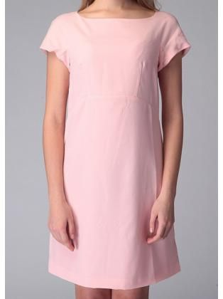 Back Zipper Pink Above Knee Dress