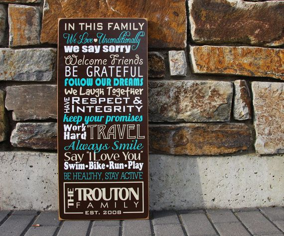 Custom Family Wood Sign: 3 COLOR- with mission statement or house rules. Personalize with own phrases, last name and established year