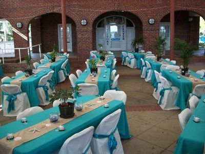 Aqua Tablecloths, White Chair Covers And Champagne Or Burlap Table Runners.  Loverly Design For