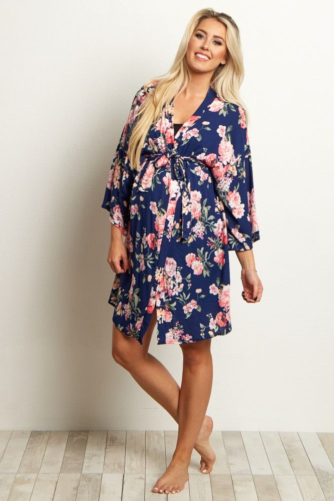 9da08838a7106 Navy Blue Floral Delivery/Nursing Maternity Robe By pink blush maternity $42