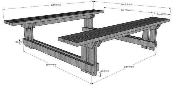 Ideas para el hogar: Mesa con bancos en madera con todos los planos para hacerla