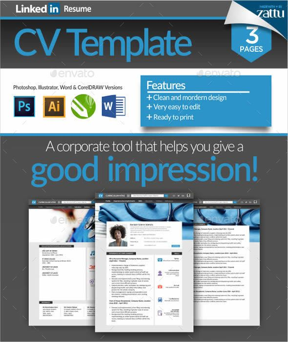 linkedin resume cv template by zattucreative clean and modernlinkedin resume cv template a very