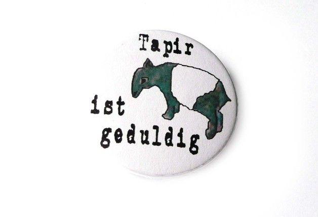 Buttons - Tiere - Tapir ist geduldig / 38mm Button - ein Designerstück von Kirschblueten-Tsunami bei DaWanda