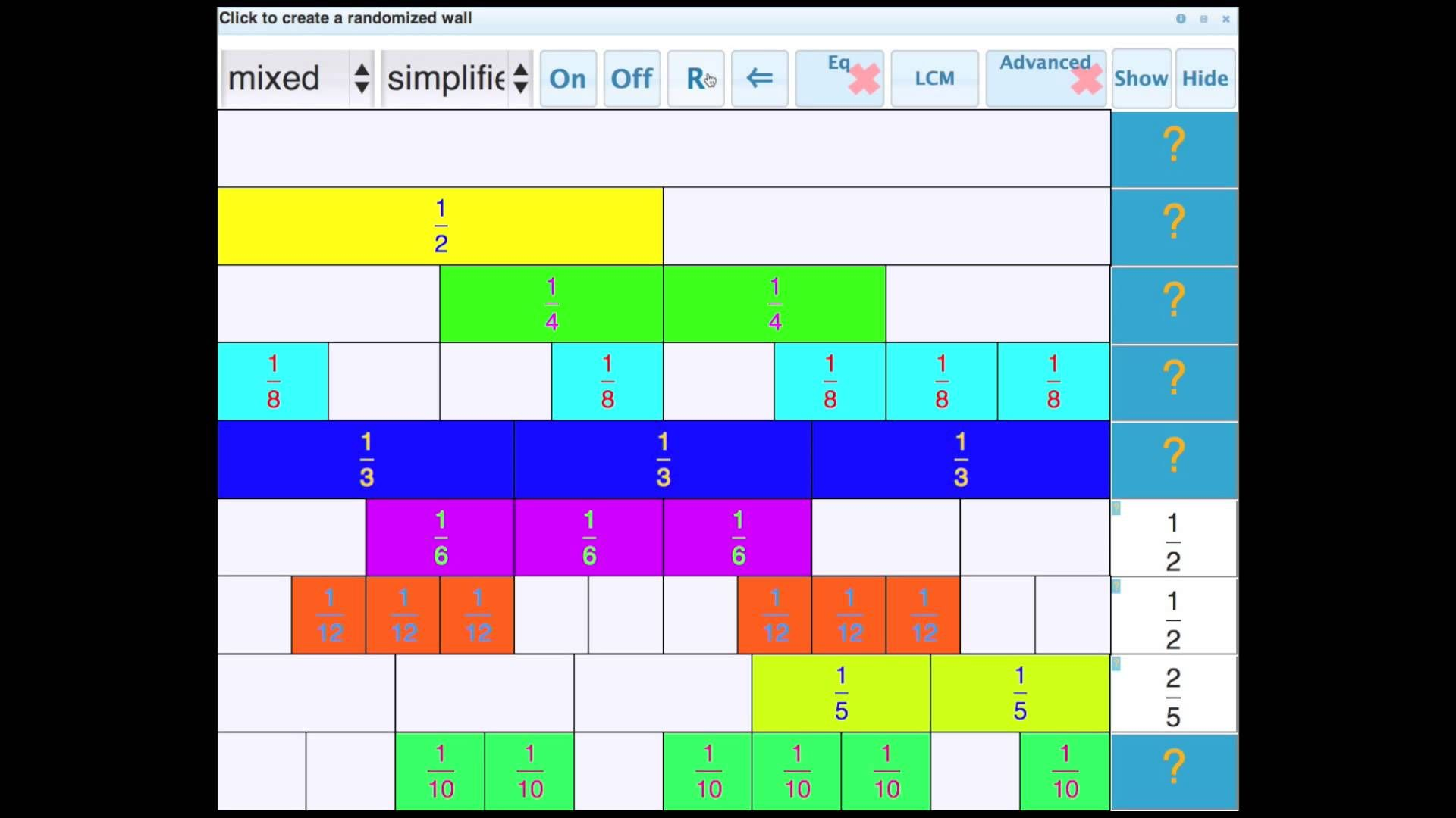 Fraction Wall Tutorial From Visnos Mathematics Updated