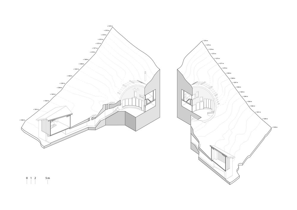 Villa Vals villa vals sectional axon architectural drawings