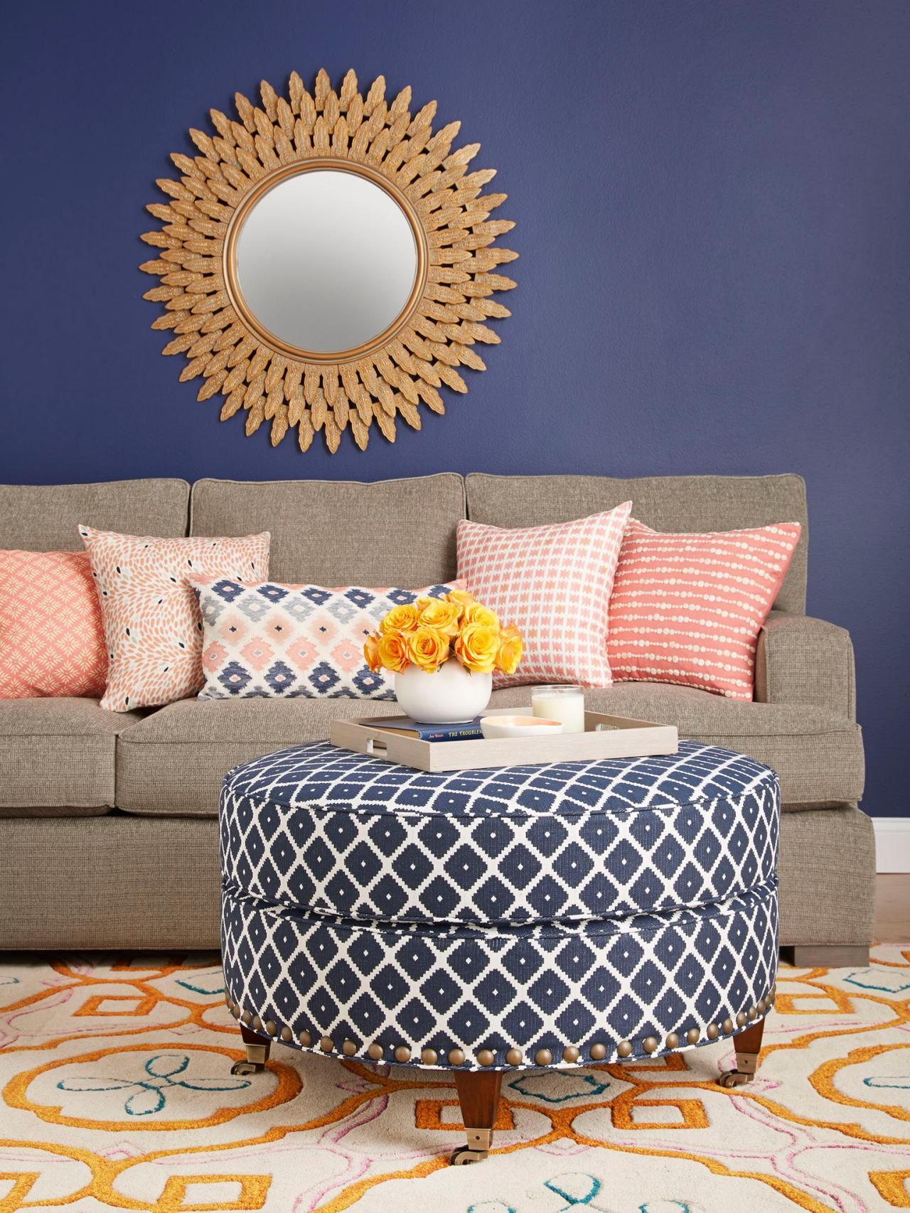 Before and after dramatic ottoman makeover hgtv - Hgtv before and after living rooms ...