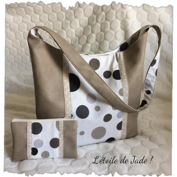 Faux Tan Leather handbag / shoulder leather cowhide paper bag