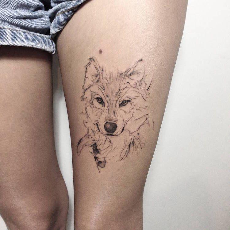 tatouage loup femme connotations et 40 id es sur les. Black Bedroom Furniture Sets. Home Design Ideas