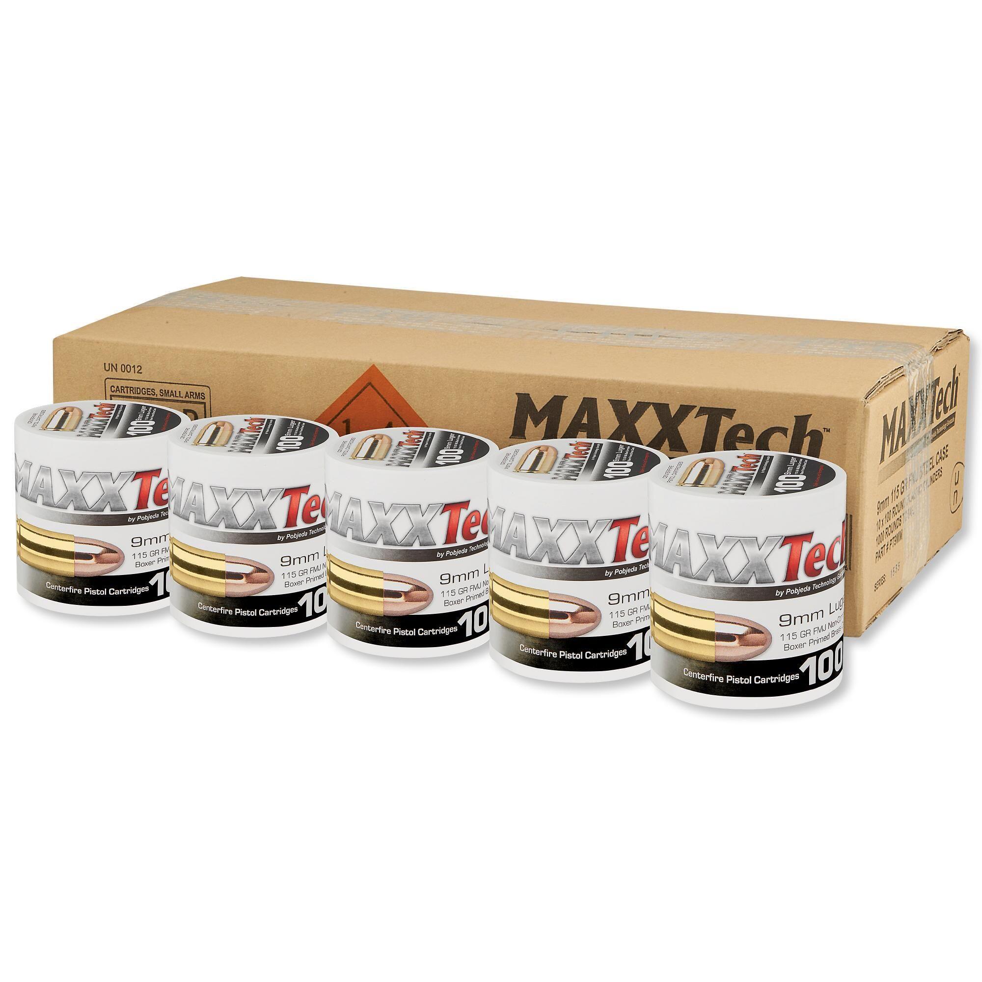 MAXXTech 9mm Ammunition 1000 Rounds, FMJ, 115 Grains