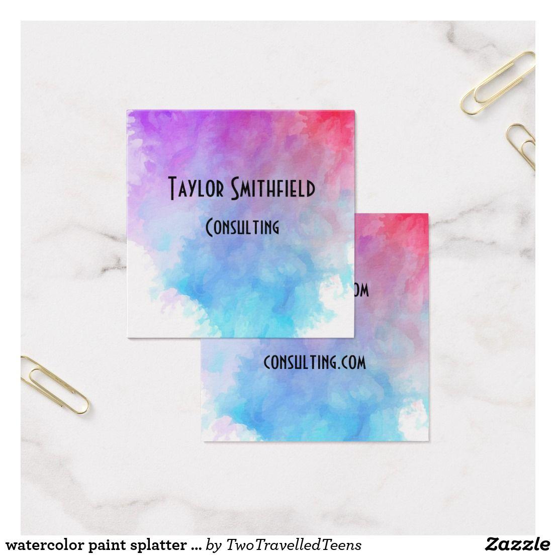 watercolor paint splatter splash business card | Business