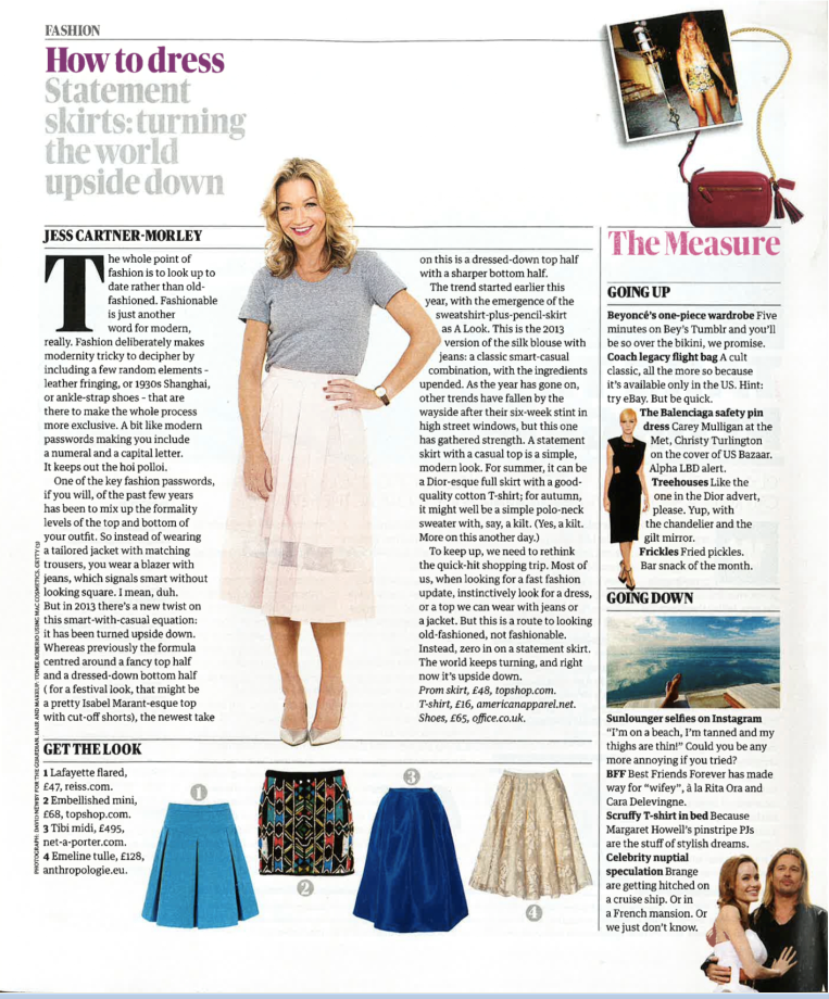 Tibi's silk faille skirt featured in the August 3rd issue of The Guardian UK.