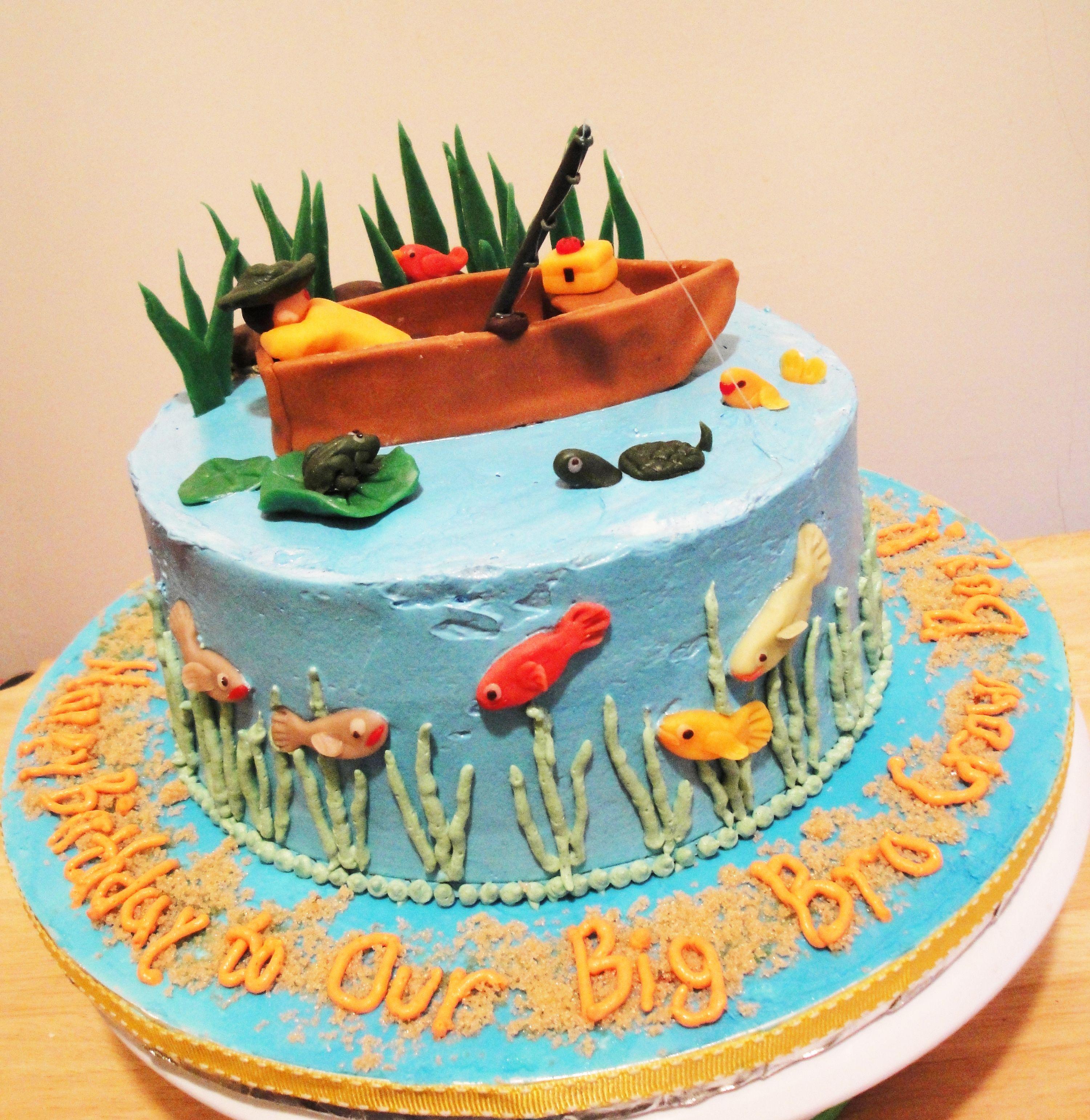 Gone Fishing Birthday Cake Tweetealicious Cakes Pinterest - Fishing boat birthday cake