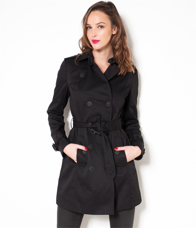 trench femme ceintur noir t36 grosse piece femmes. Black Bedroom Furniture Sets. Home Design Ideas