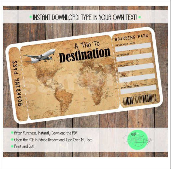 Printable Vacation Surprise Ticket Boarding Pass Vintage ...