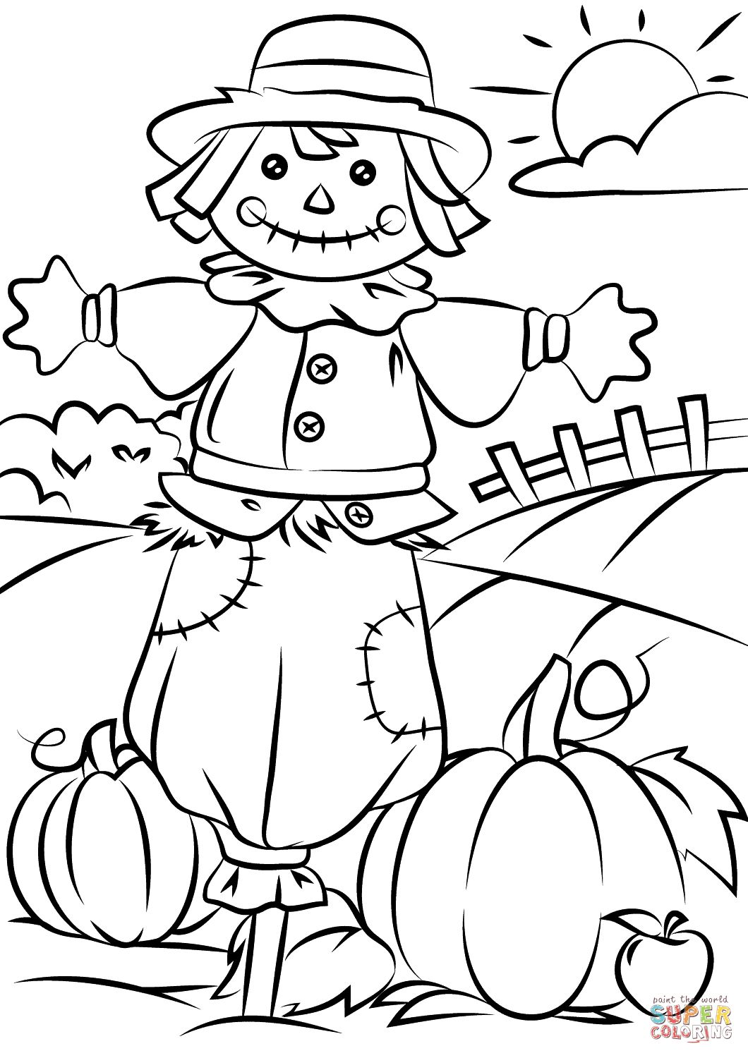 22+ Beautiful Image of Scarecrow Coloring Page Scarecrow