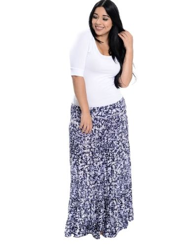 Laid Back Tiered Maxi Skirt Blue
