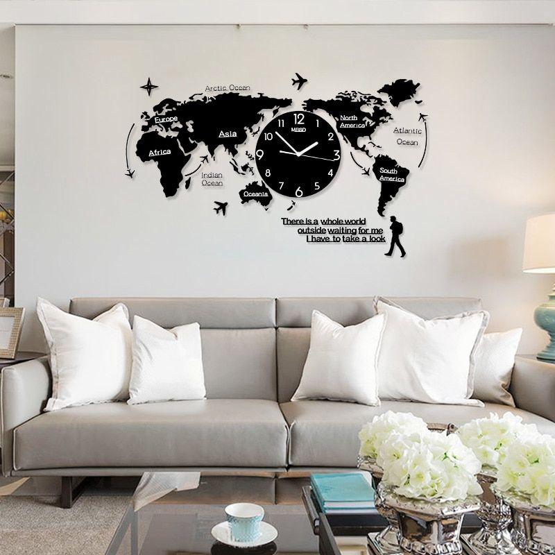 Créatif Mute Monde Carte Forme Personnalité Horloge Murale