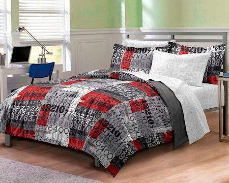 Red Grey Teen Boy Bedding Twin / Twin XL Or Full Comforter Set Bed In A