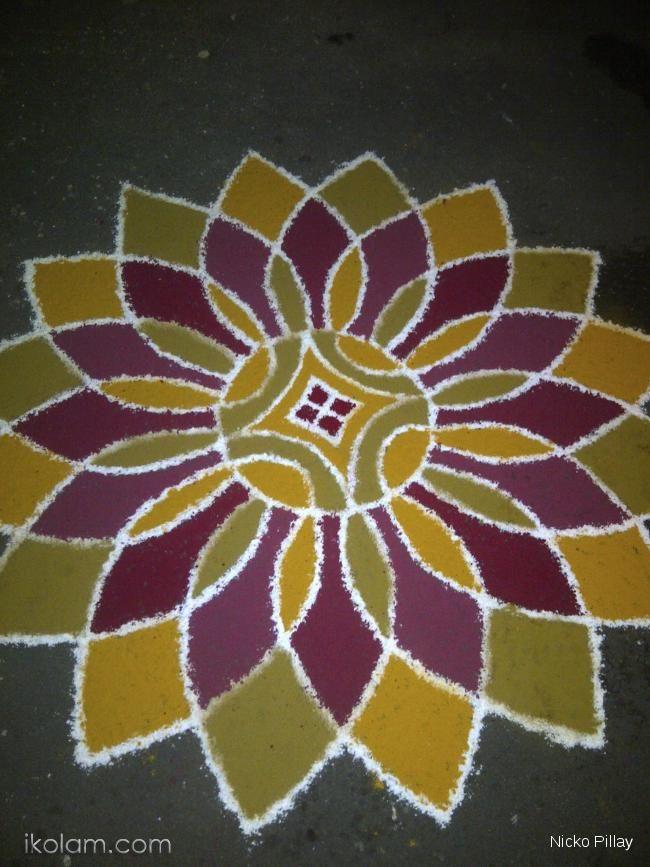 Rangoli 16 Petal Lotus Rangoli Rangoli Designs Flower Rangoli