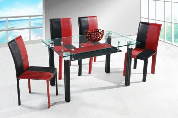 Red And Black Tables Black Red Dining Chairs Black Galss Dining Table Modern Red And Black Red Dining Chairs Dining Room Sets Home Decor