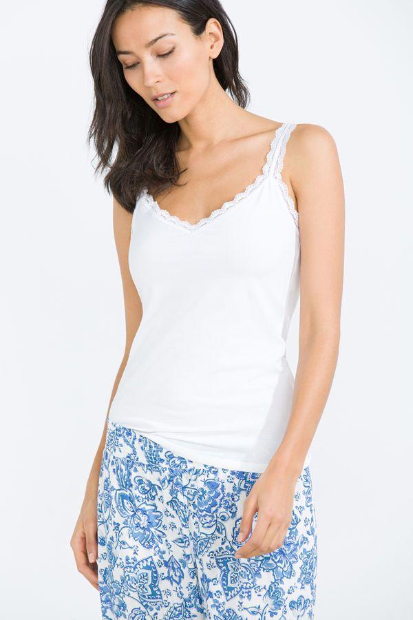 Camiseta de tirantes con detalle de encaje, blanco, hi-res