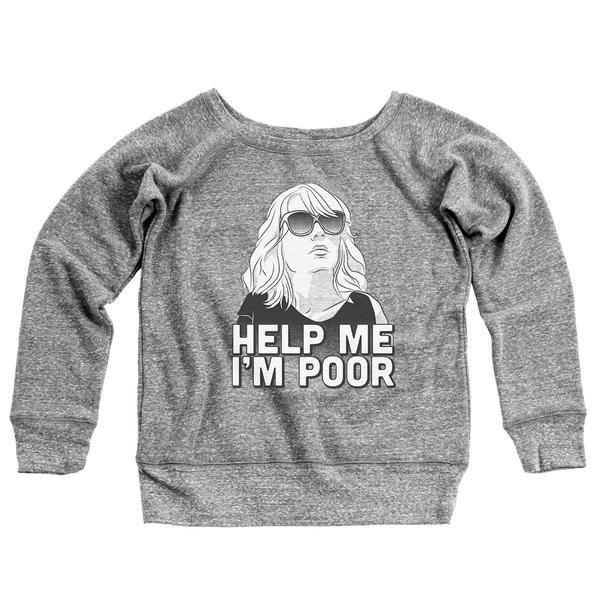 Help Me I'm Poor Women's Off-Shoulder Sweatshirt