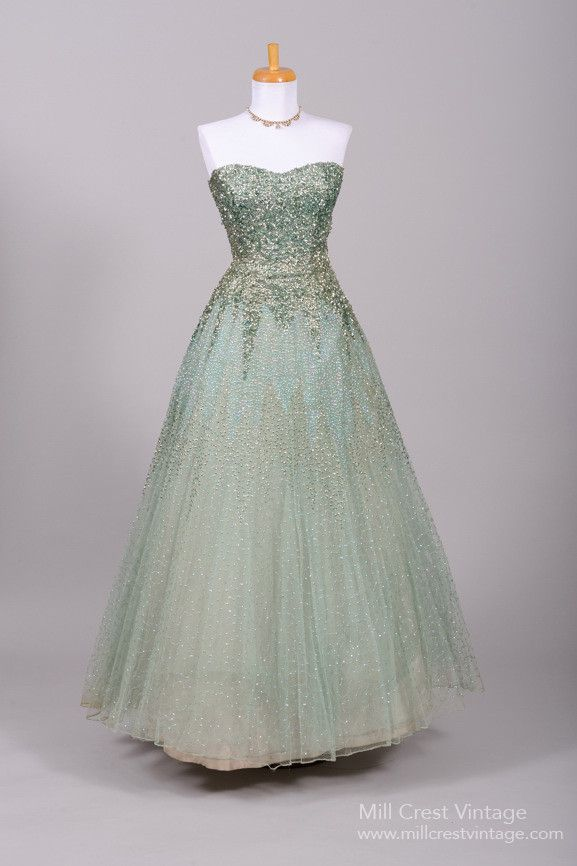 1950 Green Sequin Vintage Ball Gown Ball Gowns Vintage Ball Gowns Vintage Evening Gowns