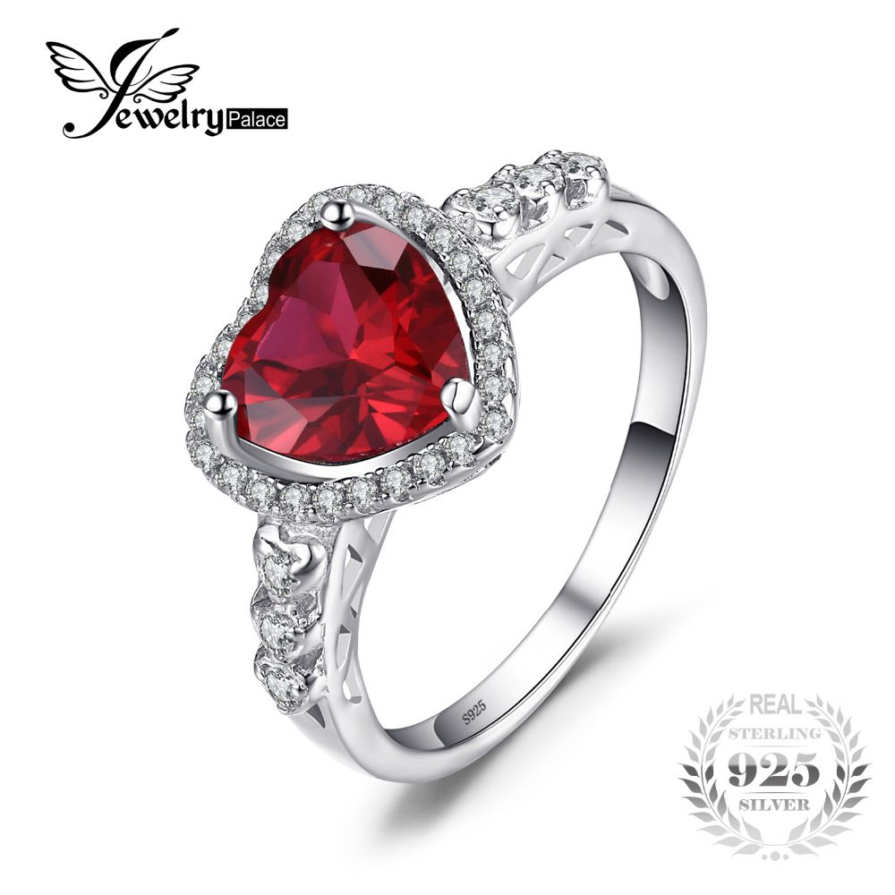 Jewelrypalace heart of ocean ct created red ruby love forever