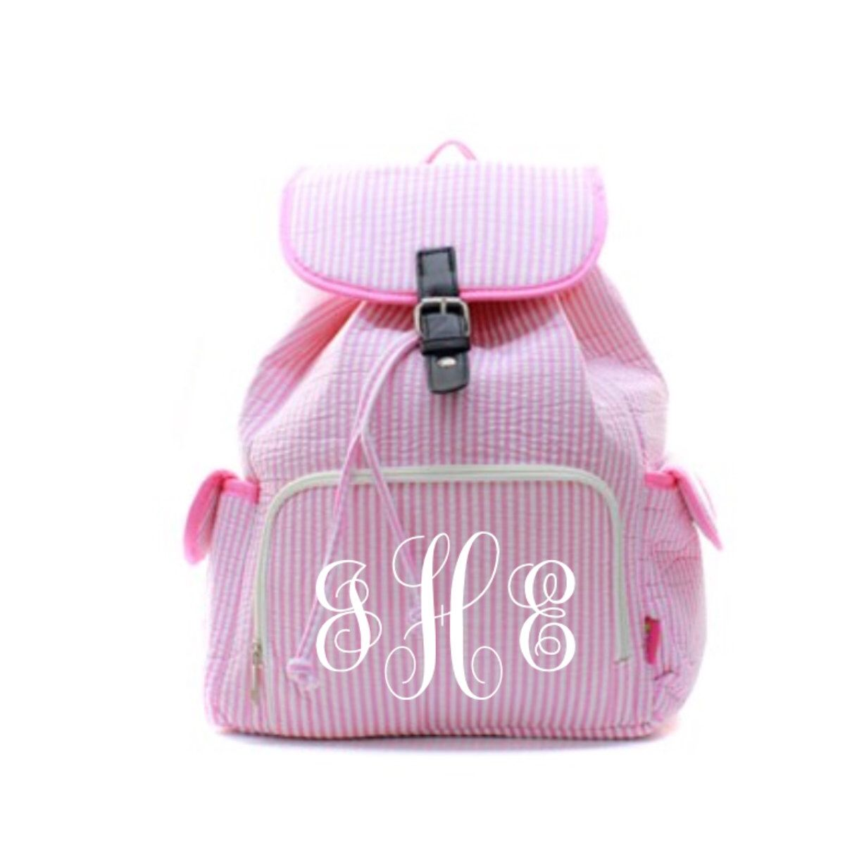 Monogrammed Seerer Pink Book Bag By Soblessedmonogrammed On Etsy