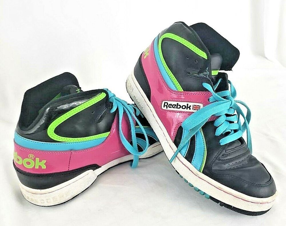 31d2f1116a REEBOK Basketball Shoes Sneaker RETRO Rare High Top Black Pink Green ...