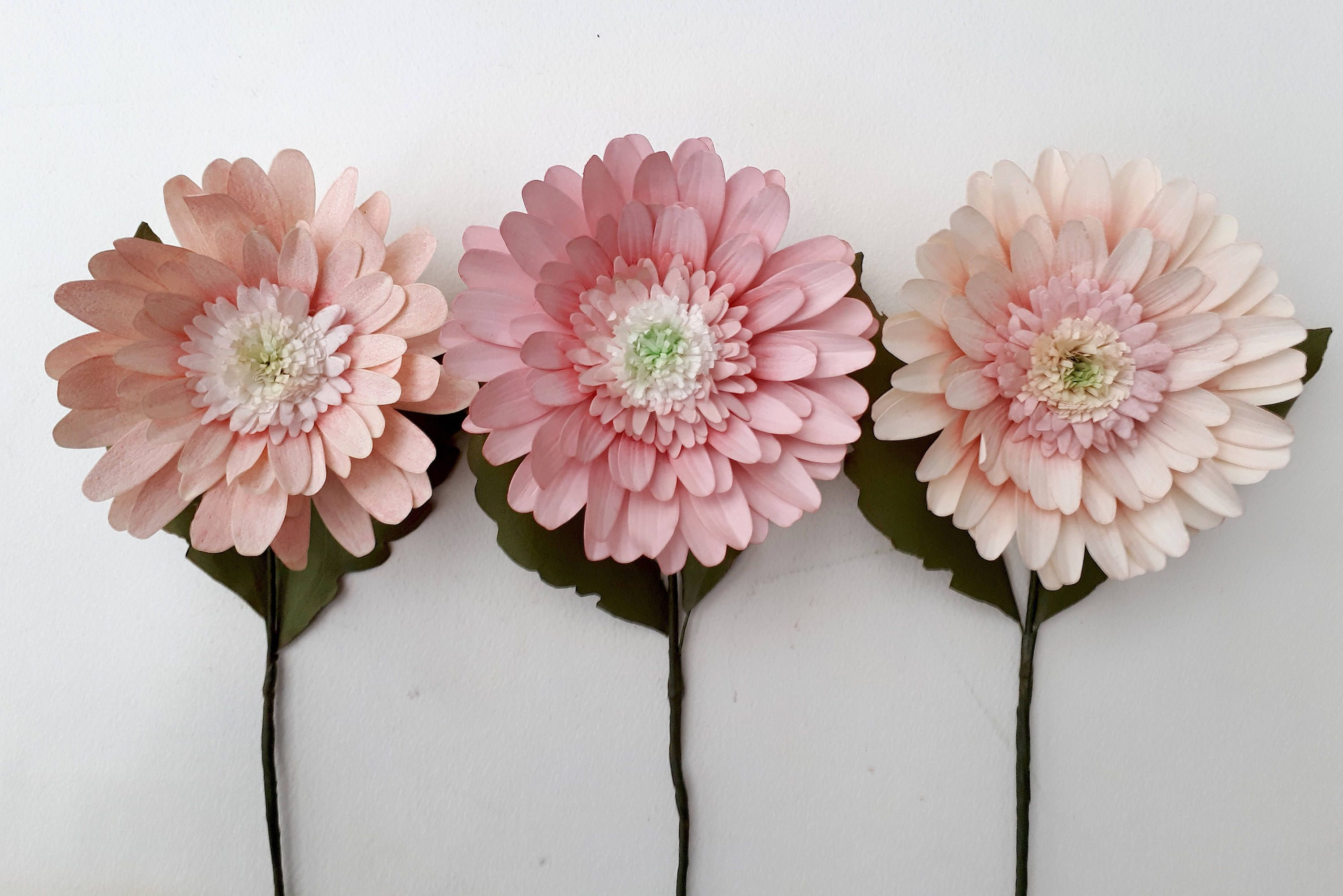 Gerbera Paper Daisies X 3 Realistic Flowers Made From Coffee Filter