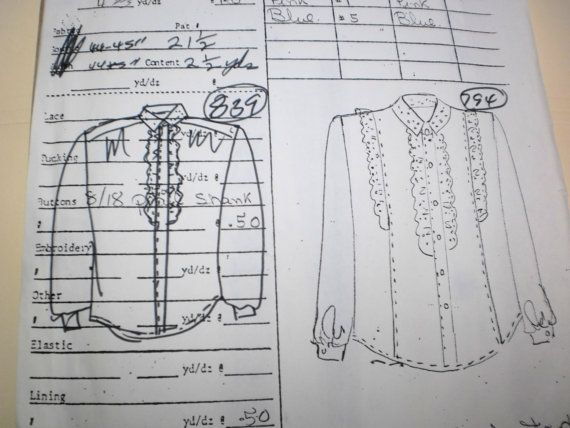 Original Sewing Pattern from a Textile Factory. Original, hand drawn ...