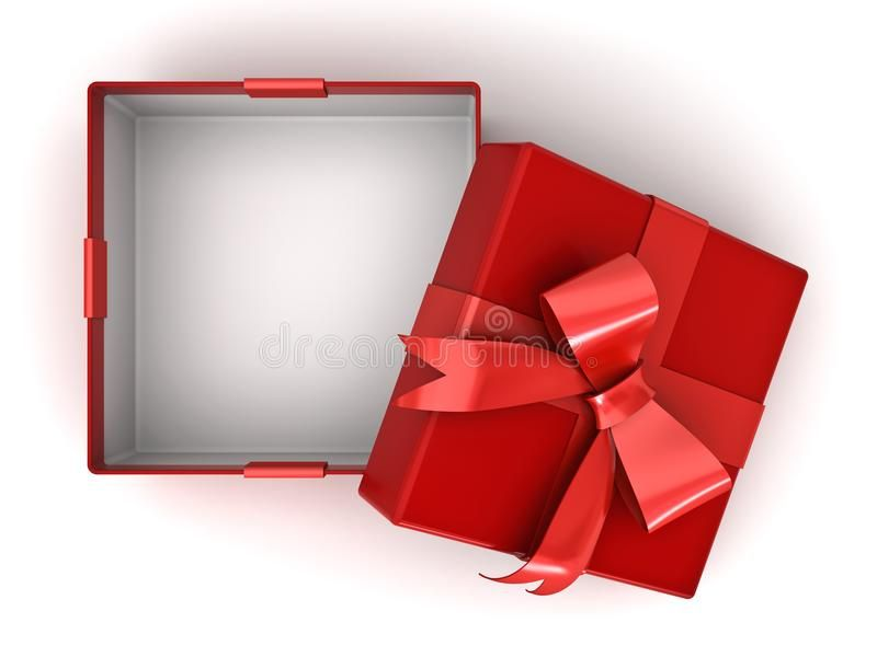 Open Red Gift Box Or Present Box With Red Ribbon Bow And Empty Space In The Box Spon Box Present Ribbon Open Red Red Gift Box Red Gift Red Ribbon