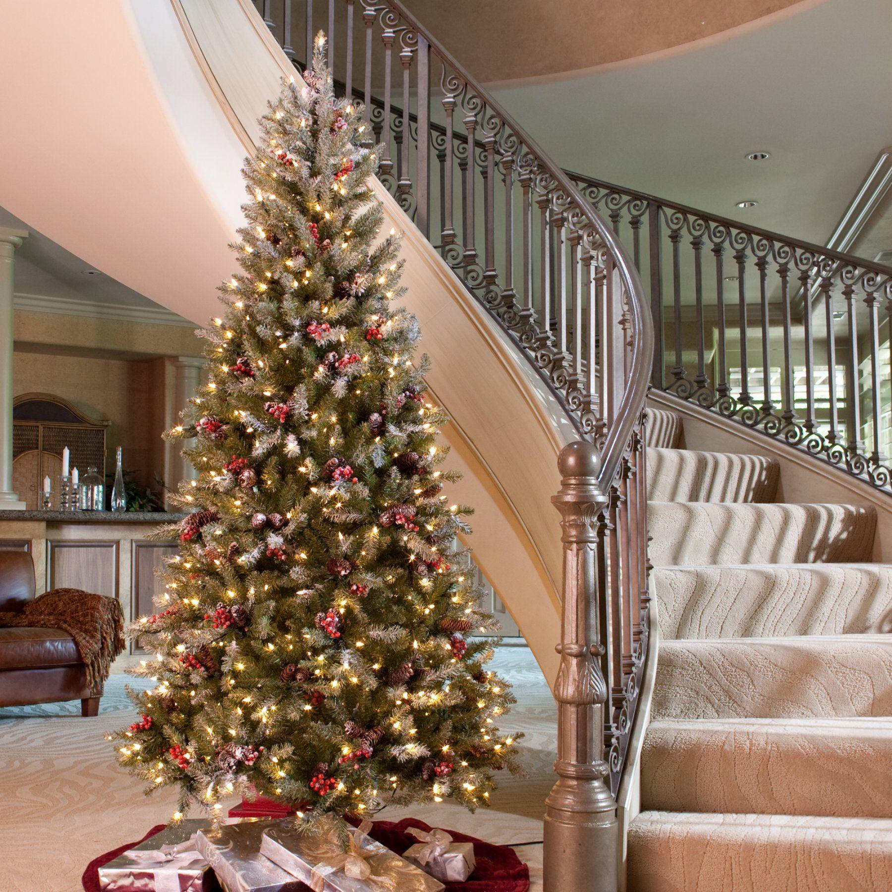 snowy dunhill slim pre lit christmas tree duf3 301 75 - 75 Pre Lit Christmas Tree