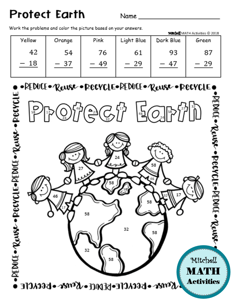 Earth Day 2 Digit Addition And Subtraction Color By Number Printable Pages Addition And Subtraction Subtraction Color By Number Printable [ 1056 x 816 Pixel ]