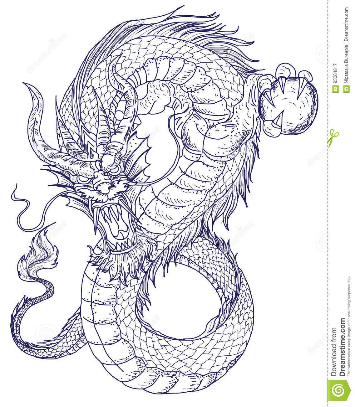 Tatouage Tiré Par La Main De Dragon, Style Japonais De Livre De
