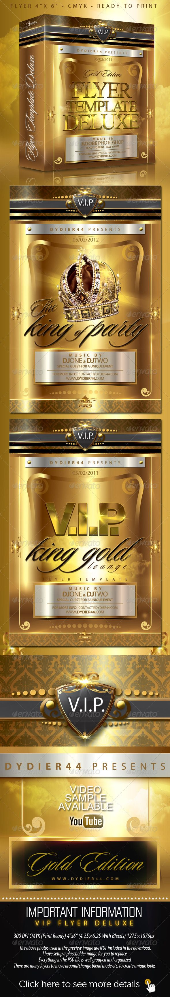 v i p gold deluxe flyer template 4x6 clubs parties events