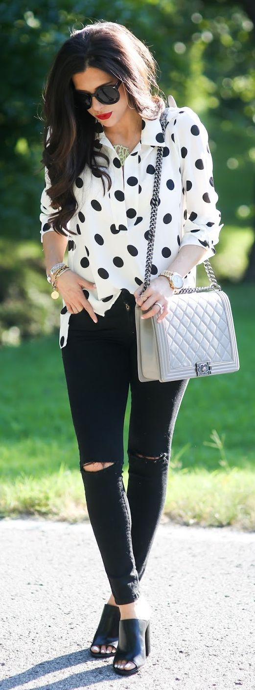 Black And White Polka Dot Butto Down Black Ripped Denim Skinnies Black Mules by The Sweetest Thing