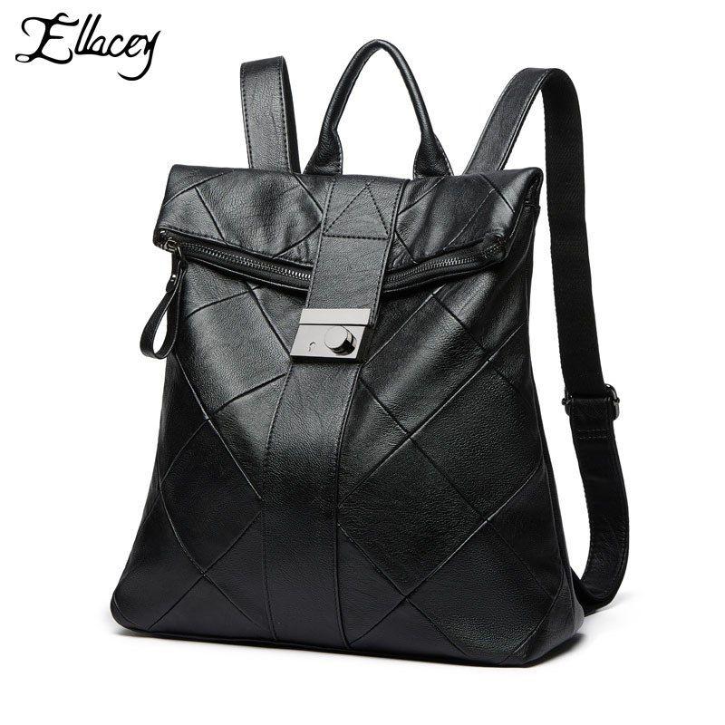 b50c58ec2995 Black Fashion Female Backpack 2019 New Diamond Lattice Shoulder Bag ...