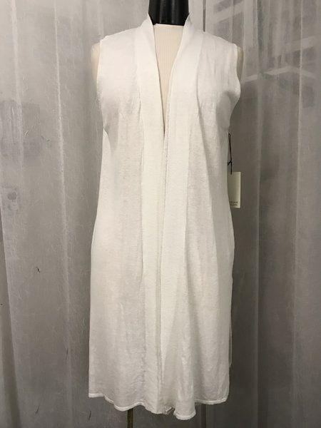 81864015ba0 Adrienne Vittadini White Sleeveless Duster Vest Linen Blend Size Large NWT