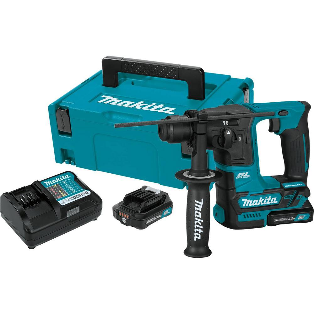 Makita 12 Volt Max Cxt Li Ion 5 8 In Brushless Cordless Sds Plus Concrete Masonry Rotary Hammer Drill W 2 Batteries 2 0 Ah Makita Drill Hammer Drill