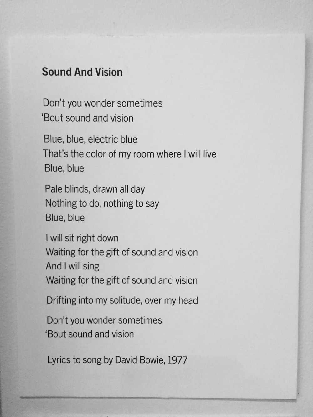 Sound and Vision - David Bowie | Beautiful quotes, Poems