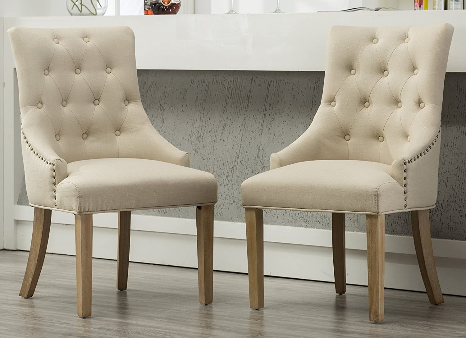 White Tan Button Tufted Wingback Dining Chairs Set Of 2 In 2021 Farmhouse Dining Chairs Tufted Dining Chairs Fabric Dining Chairs