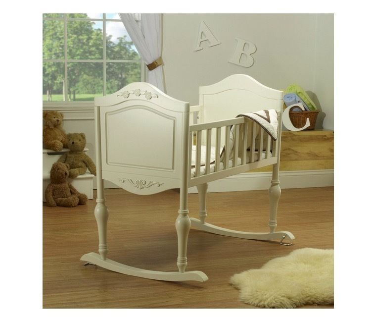 Wooden Baby Cradle Rocking Binet Wood Crib Antique White Nursery Room Infant Sorelle
