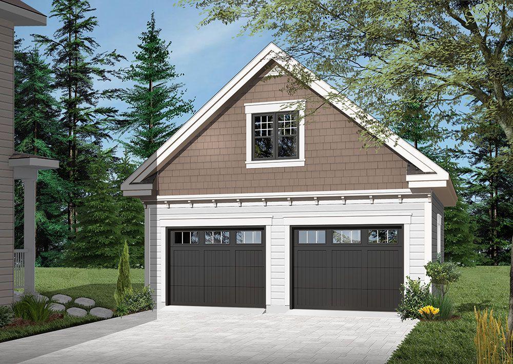 Traditional two-car garage with bonus room   Garage plans ...